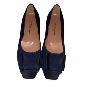 Leather Fuzion Bow Satin Peep Toe Flats Eur 39